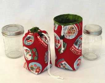 READY TO SHIP Mason Jar Carrier Bag, Pint Single Jars to Go Christmas print bag carrier cozy gift bag