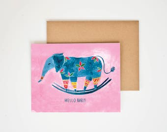 Baby Shower Gift, Elephant Greeting Card, Nursery Decor, Children's Art, Baby Room Decor, First Birthday, Happy New Year, Meera Lee Patel