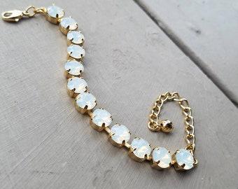 White Opal Swarovski Bracelet