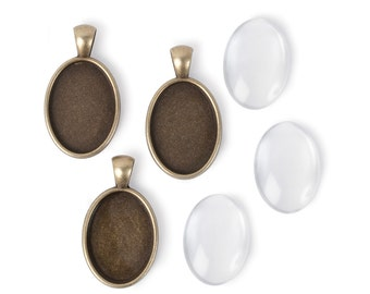 25x18mm Oval Pendants - Antiqued Imitation Gold (IP004)