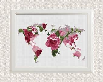 World Map Cross Stitch Pattern, Floral World Map Silhouette Flowers Counted Cross Stitch Chart Modern Decor, Download PDF