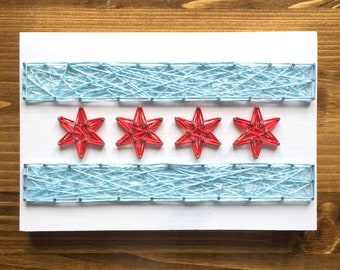 MADE TO ORDER String Art Chicago Flag Sign