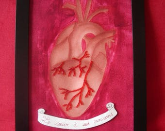 """Gwenda' wings anatomical heart """"the heart has reasons"""" red blood and technical mixed, Gwenda' wings"""
