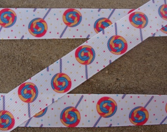 "Lollipops Candy 7/8"" Grosgrain Hair Bow Printed Ribbon 3 yards"