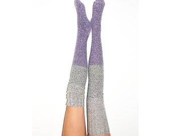 Thigh High Socks, Stripe Sweater Socks, Women's Long Over the Knee Socks, Knitted Boot Socks, OTK Thigh Highs, Stockings, PM-088DDO