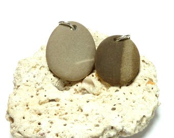Drilled Beach Stones CASHMERE Pendants Pebbles River Rocks diy Charms Jewelry Focals Organic Eco Two Tone Striped Ban Brown