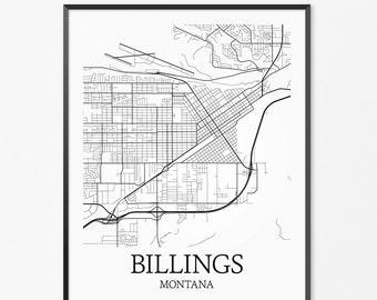 Billings Map Art Print, Billings Poster Map of Billings Decor, Billings City Map Art, Billings Gift, Billings Montana Art Poster