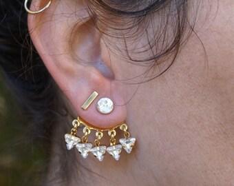 Jacket Earrings Silver Earrings crystal earrings Geometric Earrings Sparkle Ear Jacket Swarovski Earrings Bridal Ear Cuff Girlfriend Gift