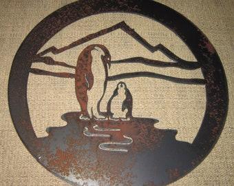 Penguins-Metal Wall Art-Home Decor-Steel Art