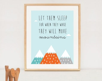 Let THEM sleep printable - twins quote poster - nursey wall art - INSTANT DOWNLOAD