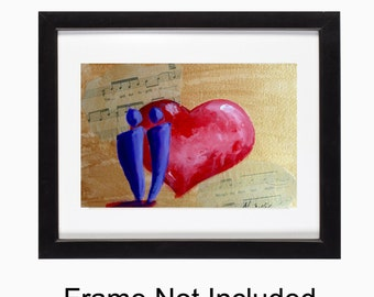 Romantic Gift, You And Me, Love Song, Heart Painting, Original Art, Red Heart, Gold Background, Music Sheet, Gift For Her, Gift For Him