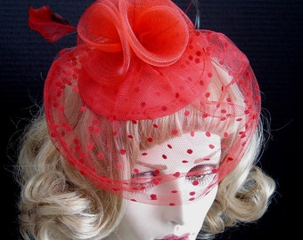 Luscious Red Fascinator Cocktail Hat Headpiece With Dotted Veil