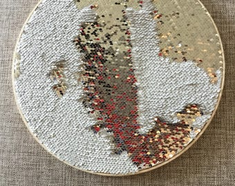 Wall Decor, Sequins, Party Decorations, Embellishment, Gift for Her, Gift for Him, Home Decor, Hoop Art, Unique, Embroidery Hoop