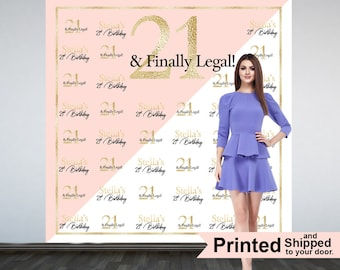 21 and Finally Legal Party Personalized Photo Backdrop -21st Birthday Step and Repeat Photo Backdrop- Birthday Photo Booth Backdrop