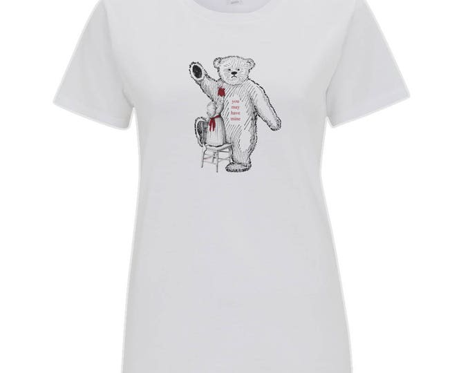 Big Bear Little Girl Anatomical Heart 'You May Have Mine' Womens Organic Cotton T-Shirt. White.