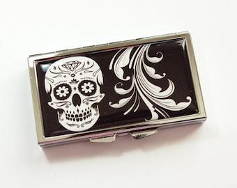 Skull Pill case, 7 day pill case, 7 sections, Pill Box, Pill case, Sugar Skull, Black, White, Sugar Skull Case, Kellys Magnets (3919)
