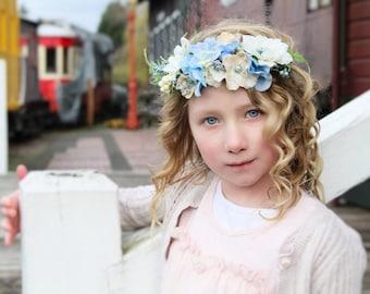 Blue halo,Ivory and vintage blue halo,flower crown,fall headband,fairy headband,flower girl headband,