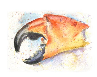 Watercolor Crab Claw, Stone Crab Claw Print, Claw Print