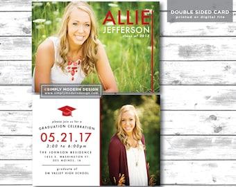 modern graduation announcement, graduation invitation, senior announcement, class of 2018, college graduation, PRINTABLE or PRINTED CARDS