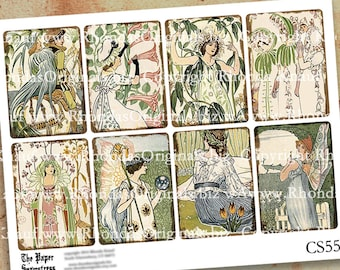 Digital Collage Sheet, ATC Tags - Aceo Fantasy Flower Lady Fairy Images - INSTANT Download - Victorian Art Nouveau Walter Crane CS500C