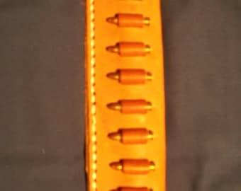 Leather Cartridge Belt slide holder, .22 s, l, lr, .17 mac 2, .17 hmr, .22 magnum, 10 round