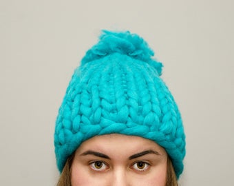 winter beanie, handmade, blue beanie, hat with pompom, christmas gits idea, beanie for womans, hat for her, knitted