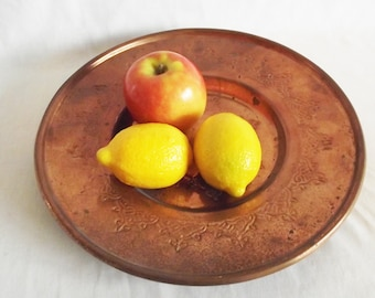 Vintage Solid Copper Bowl Tray - Wall Hanging
