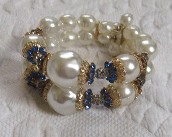 Vintage Pearl Cuff Bracelet . Pearl and Blue Rhinestone Bangle . Retro Wire Cuff Bracelet