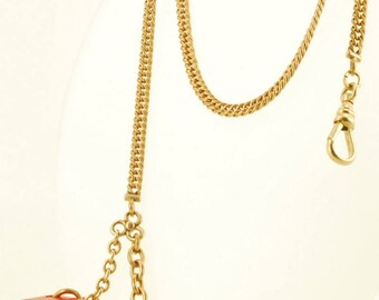 """13"""" vintage yellow gold (filled) flat curb-link Albert-style pocket watch chain with a red Bakelite dice fob and t-bar finding"""