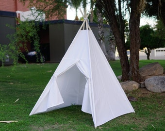 White canvas teepee tent V2.0 / kids play tent/canvas Tipi with overlapping front doors