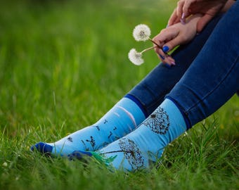 Dandelion socks | men socks | colorful socks | cool socks | mismatched socks | womens socks | crazy socks | patterned socks