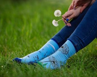 Dandelion socks | men socks | colorful socks | cool socks | mismatched socks | womens socks | crazy socks | patterned socks