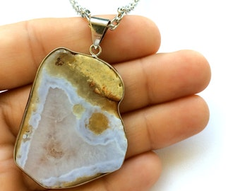 """The Parker """"INDIAN SUMMER"""" Collection. Sliced Agate Necklace with 28"""" Rhodium Chain. Gift Box Included. Tracking Included for US Buyers."""