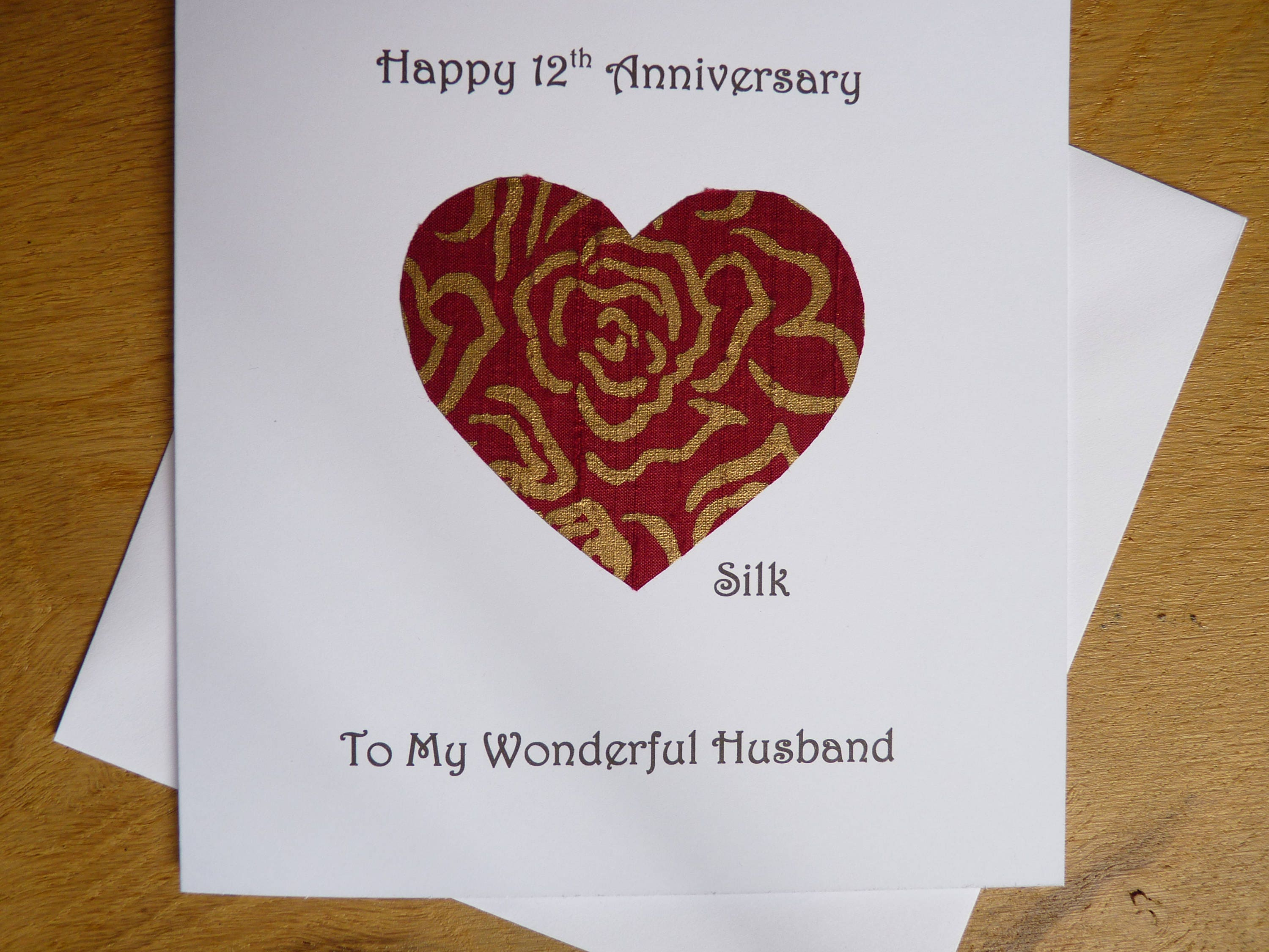 12th anniversary card silk twelve years marriage twelfth description this beautiful 12th wedding anniversary card kristyandbryce Choice Image