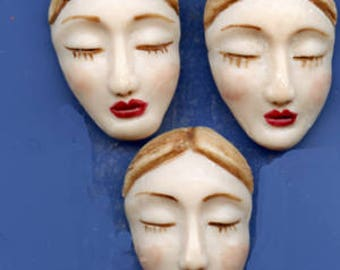 """Lot   of 3  Detailed   1 3/8 """" x 1 """"  Polymer  Faces FCL 3"""