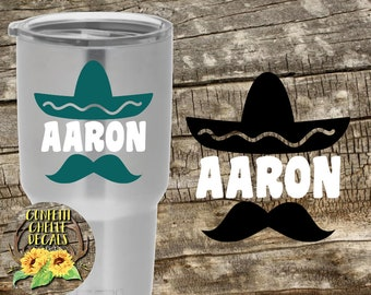 Sombrero Decal   Mustache Decal   Vacation Decal