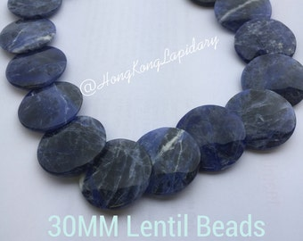 30MM lentil beads in sodalite  rare find!