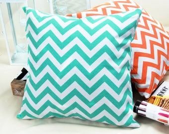 Free Shipping! Cyan White Zig-Zag Printed Throw Pillow Decorative  Canvas Pillow  Case Cushion Cover Handmade1635