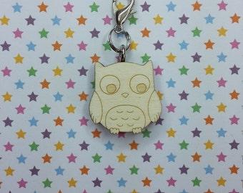 Owl wooden progress keeper - knitting notions - charm