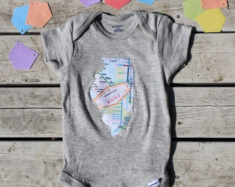 Illinois Baby Onesie®, Handmade Illinois Baby Bodysuit, IL Baby Clothes, ANY State Available