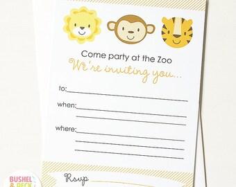 PRINTABLE Baby Animal Invites - #DIY #Digital #Printable #File (instant download)