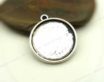 10 Cabochon Settings Antique Silver Tone - Fits 25mm Cab, Round Bezel Trays, Cameo Base, Pendant Blanks - BA30
