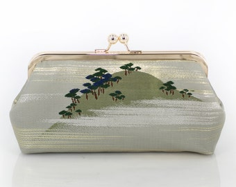 Vintage Japanese Obi Clutch Purse | Pine Tree in a misty mountain