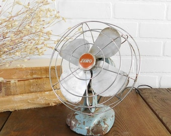 Vintage Zero Small Fan, Industrial Fan, Farmhouse Decor, Electric Collectible Fan