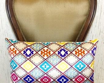 Velvet Lumbar Pillow, Ikat Print Lumbar Pillows, Velvet Pillow Cover, Decorative Throw Pillows, Velvet Cushions, Lumbar Velvet Pillow Covers