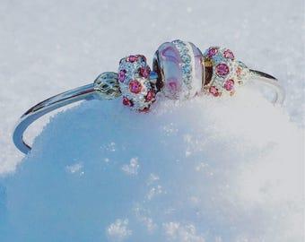 Pink and Gray Sparkle Bracelet