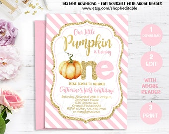Pumpkin Pink and Gold first birthday invitation, 1st birthday invite pumpkin, Girl Fall invitation, Instant download, Editable, Templates