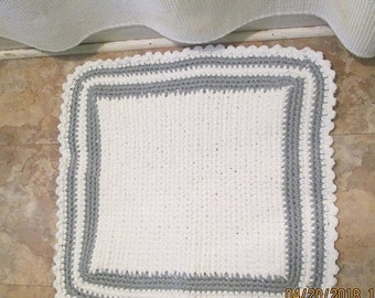 """30% Off SPRING SALE Crocheted Cotton Bath Mat White with Gray Trim Yarn Triple Thick 22"""" x 22"""""""