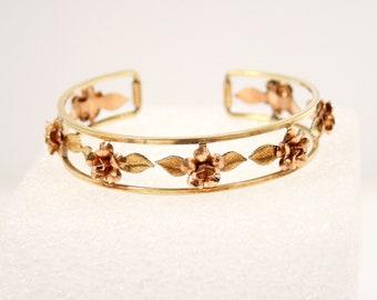 Vintage Krementz 14k Gold Flower Cuff Bracelet 14k Yellow Gold and Rose Gold Overlay Roses Cuff