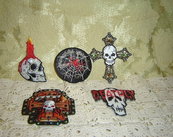 5 Skull Patches Appliques crafts Embelishments Spiders
